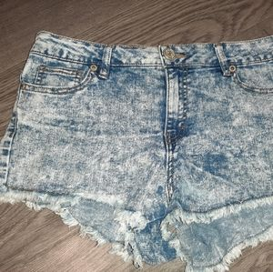 High rise acid wash short shorts from West49